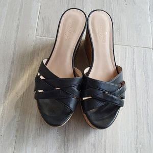 KATE SPADE BLACK WEDGE SANDALS